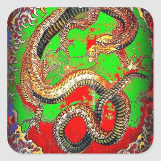 Red & Green  DRAGON Art design by SHARLES Square Sticker
