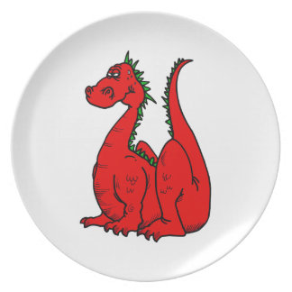 Red & Green Dragon.png Dinner Plates