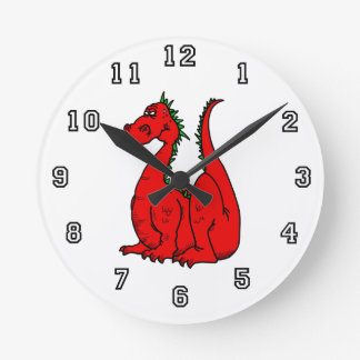 Red & Green Dragon.png Round Wall Clocks