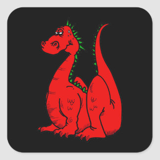 Red & Green Dragon.png Square Sticker
