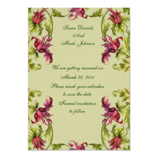 """Red Green Floral Wedding Save The Date 5"""" X 7"""" Invitation Card"""