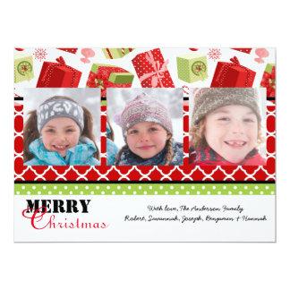 Red & Green Gifts 3 Photos - 6x8 Christmas Card 17 Cm X 22 Cm Invitation Card