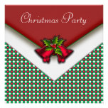 Red Green Gingham Red Bells Holly Christmas Party Personalized Announcement