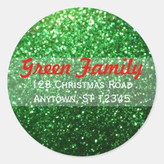 Red & Green Glitter Christmas Return Address Label Round Sticker