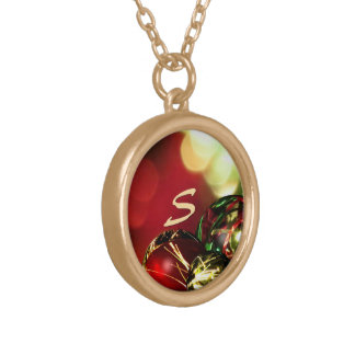 Red, Green, Gold Bokeh Lights and Ornaments Custom Round Pendant Necklace