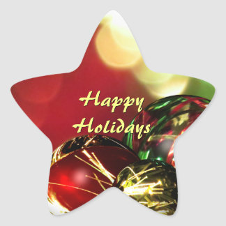 Red, Green, Gold Bokeh Lights and Ornaments Custom Star Sticker