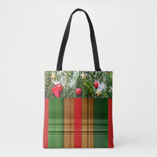 Red Green Gold Decorative Christmas Tote Bag
