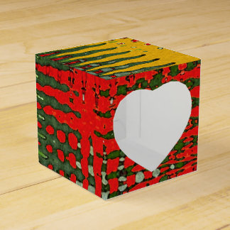 Red Green Gold Grey Abstract Gift Box
