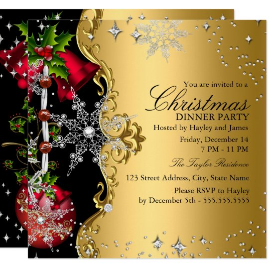 red green gold snowflake christmas dinner party 3