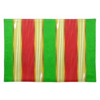 Red Green Gold Striped Placemats