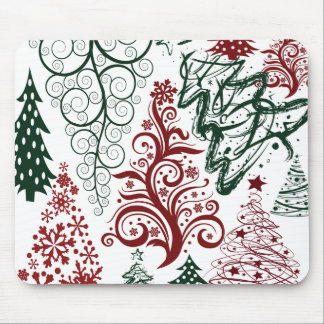 Red Green Holiday Christmas Tree Pattern Mouse Pad