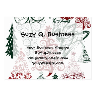 Red Green Holiday Christmas Tree Pattern Pack Of Chubby Business Cards