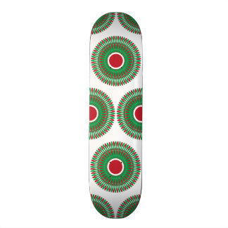 Red Green Holiday Christmas Wreath Design Skateboard Decks