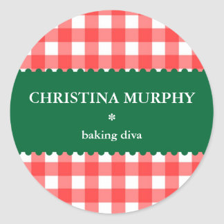 Red green holiday gingham homemade food label seal round sticker