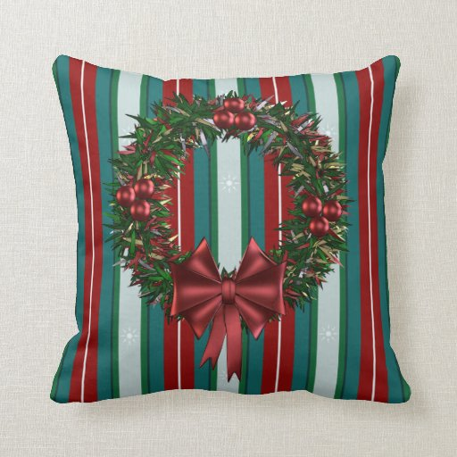 Red Green Holiday Wreath Striped Throw Cushions Pillows