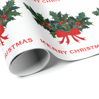 Red Green Holly Bow Elegant Holiday Christmas Wrapping Paper