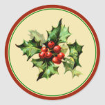 Red & Green Holly Christmas Holiday Envelope Seals Round Stickers