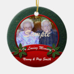 Red Green Holly In Loving Memory Christmas Round Ceramic Decoration