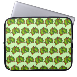 Red Green Holly Leaf Christmas Xmas Holiday Cookie Laptop Sleeve