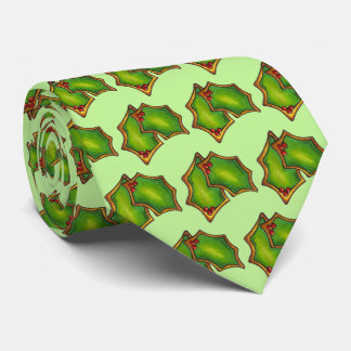 Red Green Holly Leaf Christmas Xmas Holiday Cookie Tie