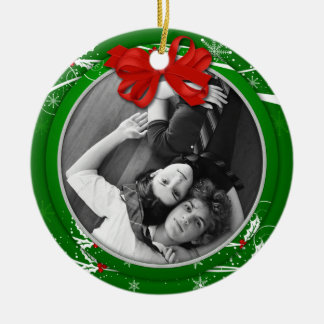 Red Green Holly Ribbon 1st Christmas Photo | Christmas Ornament