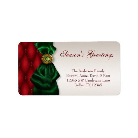 Red, Green & Ivory Christmas Holiday Address Label