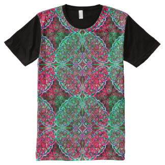 Red & Green Kaleidoscope ~ Beautiful Reflections All-Over Print T-Shirt
