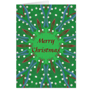 Red Green Kaleidoscope Christmas Greeting Cards