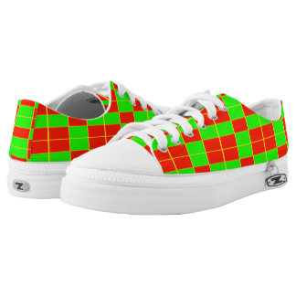 Red Green Large Checks Printed Shoes
