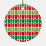 Red Green Large Knit Round Ceramic Decoration