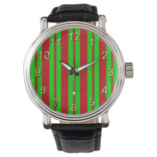 Red Green Large Uneven Christmas Stripe Pattern Watches