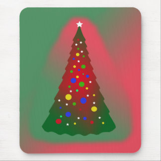 Red Green Merry Christmas Tree Mouse Mat