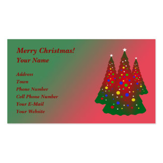 Red Green Merry Christmas Tree Pack Of Standard Business Cards