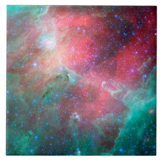 Red green nebula large square tile