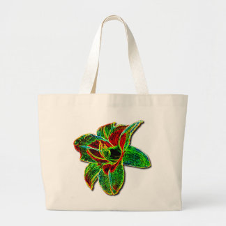 Red/Green Neon Daylily Canvas Bag