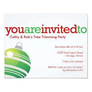 Red green ornament Christmas holiday custom party 11 Cm X 14 Cm Invitation Card
