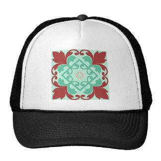Red Green Ornamental Flourish Pattern Mesh Hats
