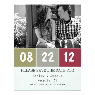 Red Green Palette Save The Date Announcements