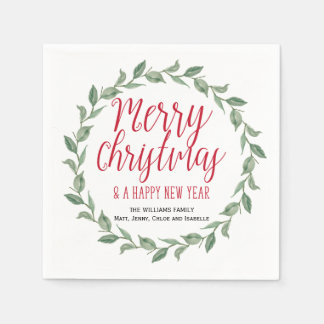 Red Green Personalized Merry Christmas Wreath Paper Napkin