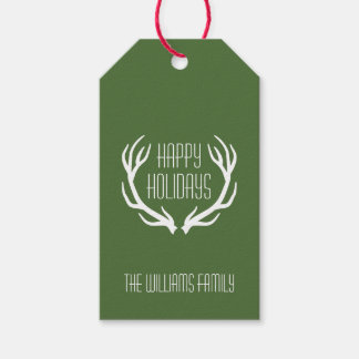 Red & Green Personalized Rustic Happy Holidays Gift Tags