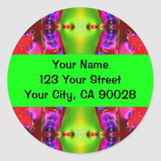 red green pink abstract classic round sticker