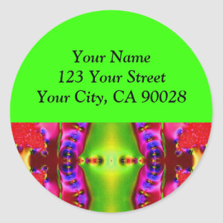 red green pink abstract round sticker