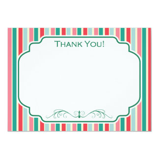 Red, Green, Pink and Blue Stripes 11 Cm X 16 Cm Invitation Card