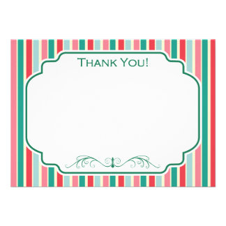 Red, Green, Pink and Blue Stripes Custom Invite