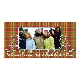 Red Green Plaid Antique Frame Holiday Family Photo Card