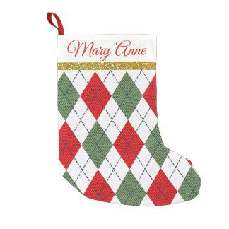 Red Green Plaid Argyle Christmas Stocking Name