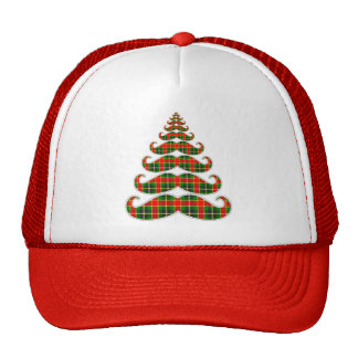 Red & Green Plaid Mustache Christmas Tree Hat