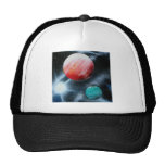 Red Green Planets and White star spraypainting Mesh Hat