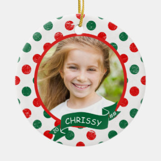 Red & Green Polka Dot 2-Side Personalized Keepsake Christmas Ornament