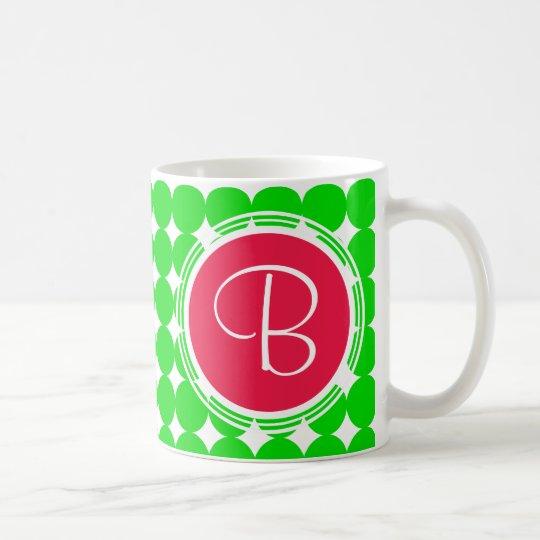 Red & Green Polka Dot Monogram Coffee Mug